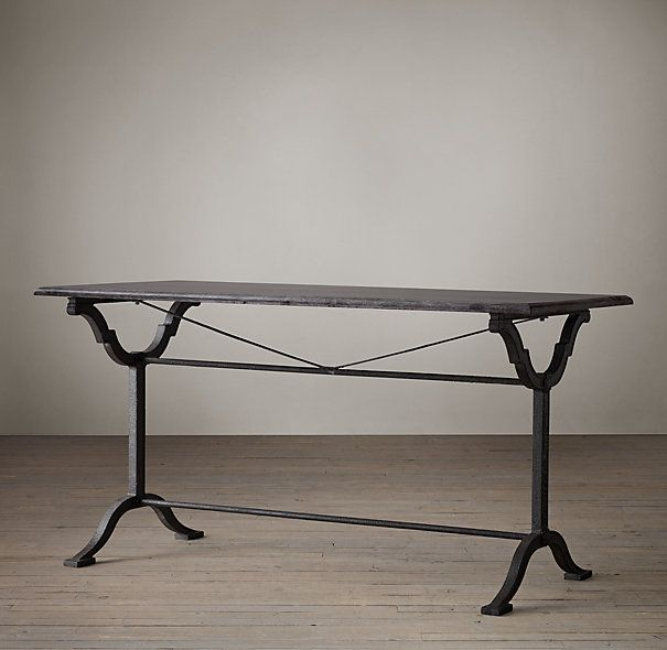 Bluestone U0026 Cast Iron Pedestal Rectangular Dining Table