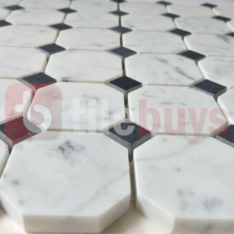 Bianco Carrara White Marble Octagon Mosaic Black Dot Octagon Pattern White Marble Mosaic Marble Mosaic