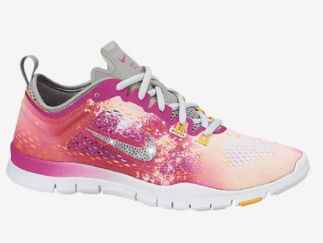 483f311bcfbf0 Over Half Off 2017 Nike Free 5.0 TR Fit 4 Printed Shoes w Swarovski Crystal  Detail - WhiteAtomic MangoBase GreyFusion Pink