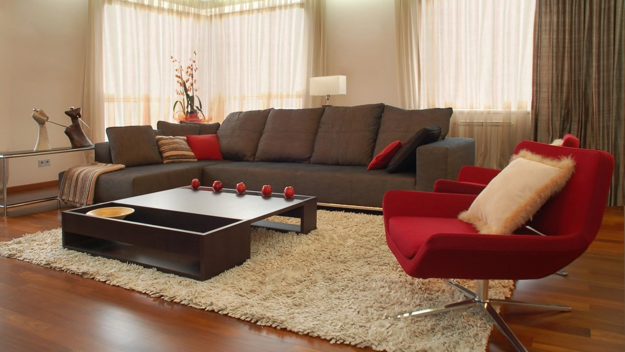 Living Room , Get An Elegant but Comfy Welcoming Space Through Brown ...