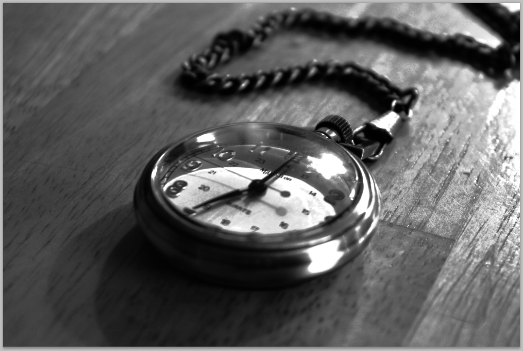 Me playing around with HDR in black and white with my pocket watch. Two different pictures taken at different exposures and combined.