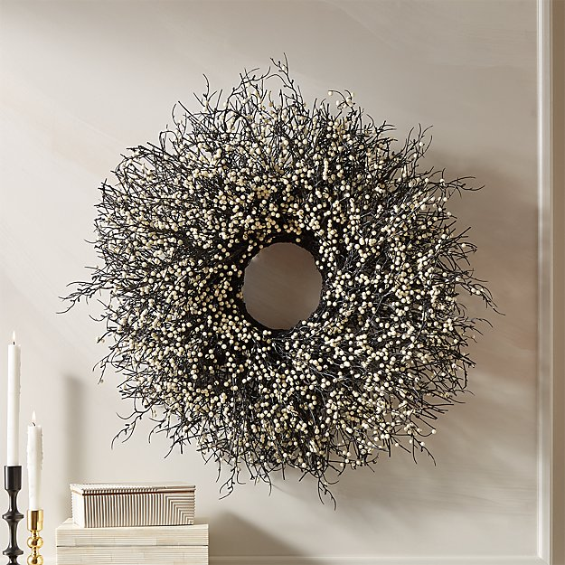 "Berry White Wreath 30"" + Reviews CB2 White wreath"