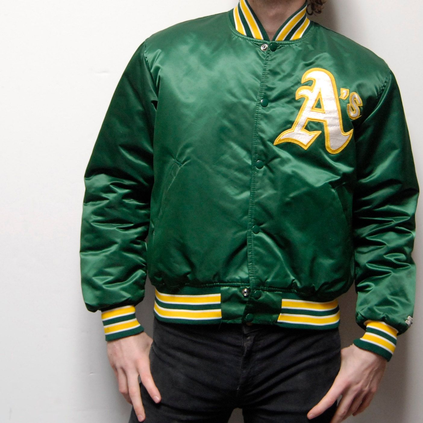 best sneakers 1efdd a4458 STARTER green and yellow OAKLAND A's satin jacket made in ...