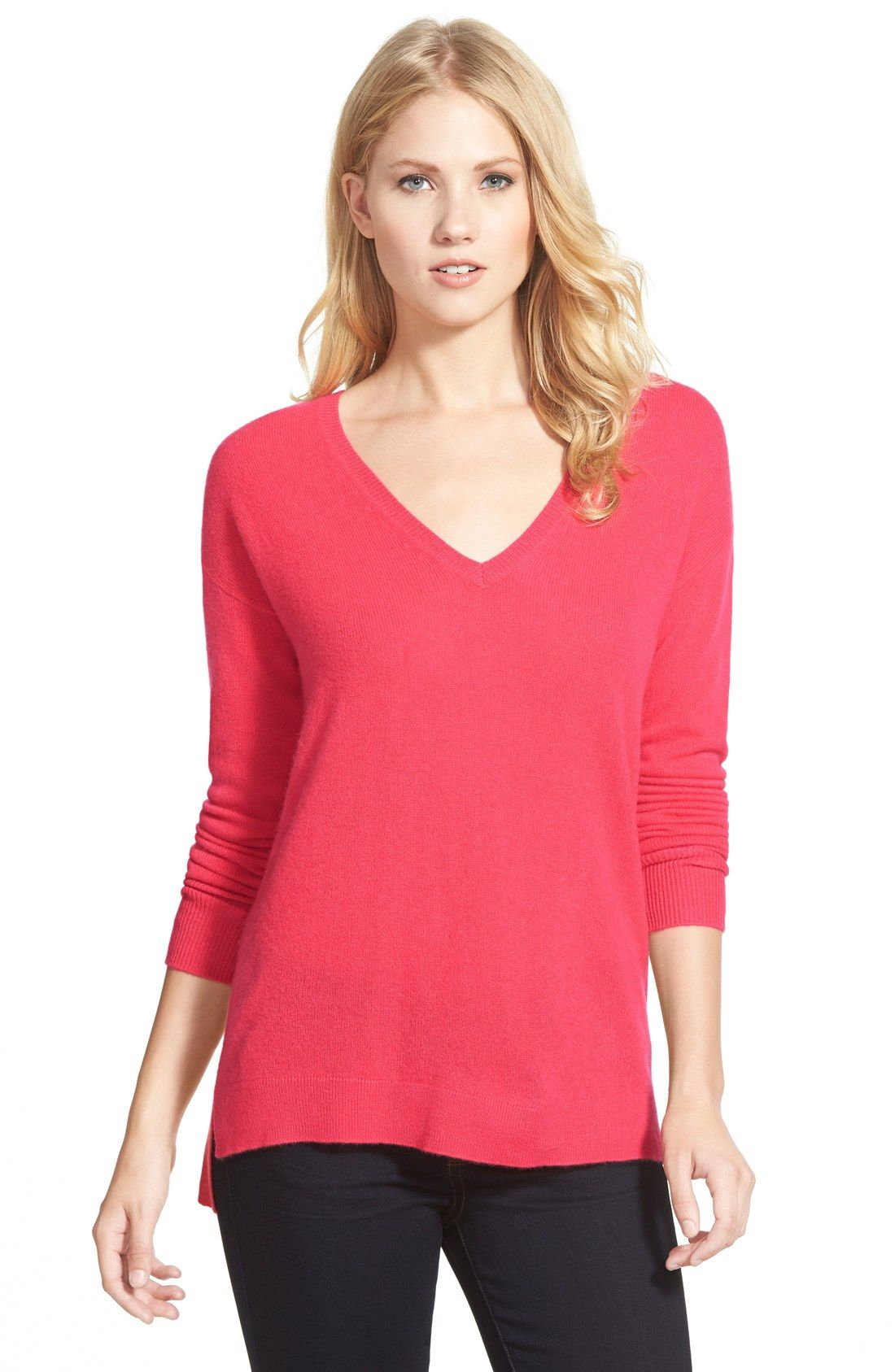 Halogen® V-Neck Lightweight Cashmere Sweater (Regular & Petite ...