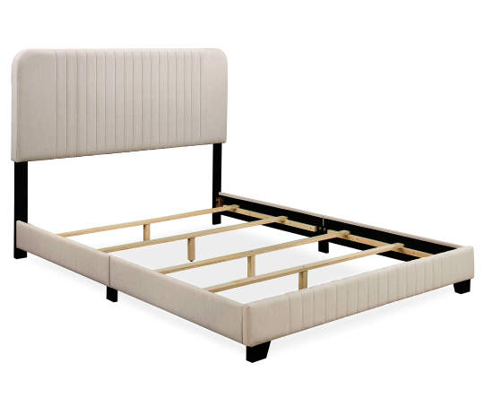 Linen Mid Century Upholstered Queen Bed Upholstered Platform Bed