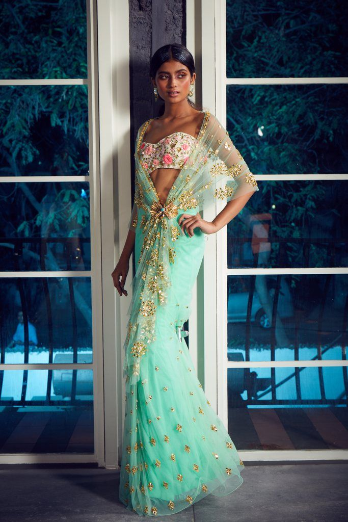 Cynthia - Papa Don't Preach by Shubhika   Saree styles, Saree, Wedding guest outfit inspiration