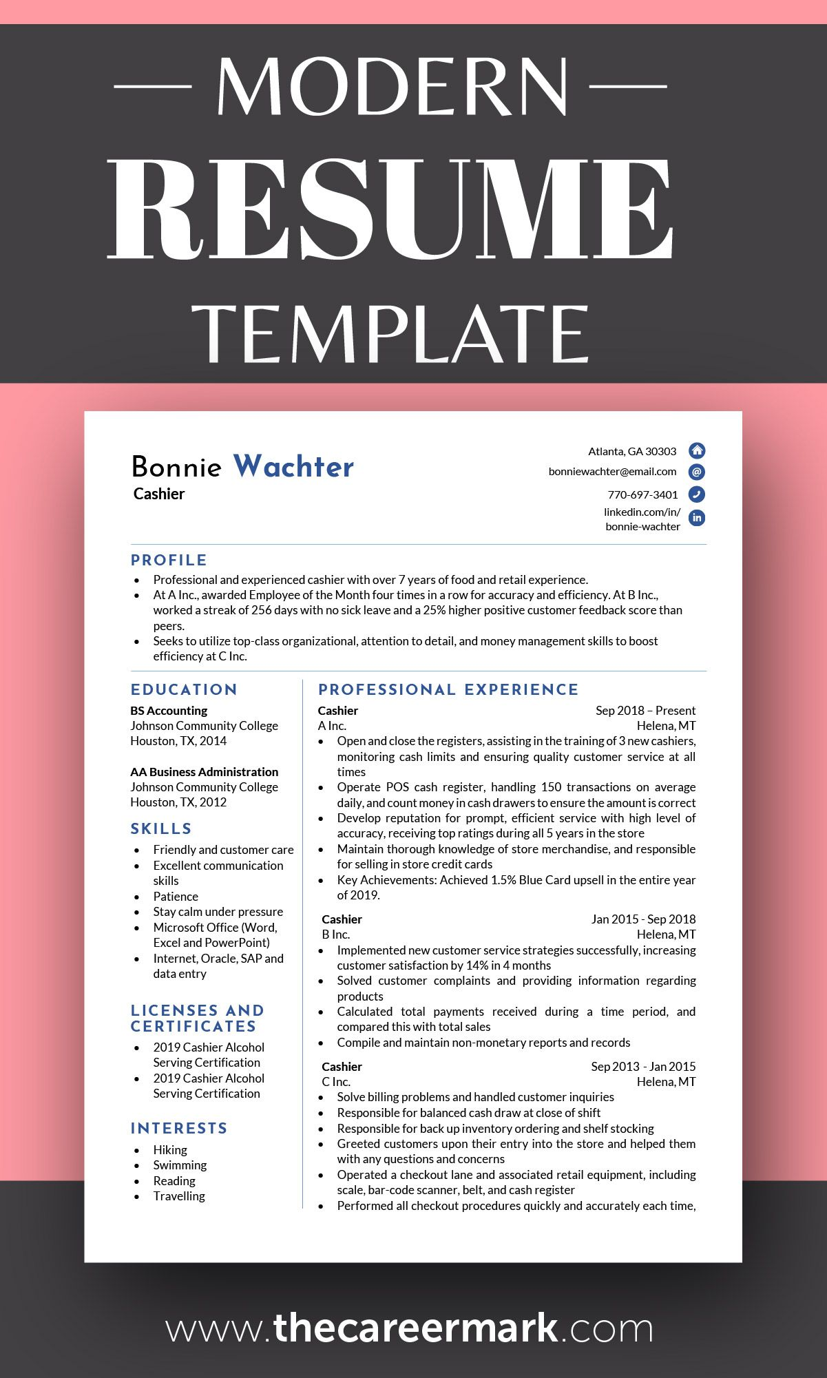 Modern Resume Template for 2020 in 2020 Modern resume