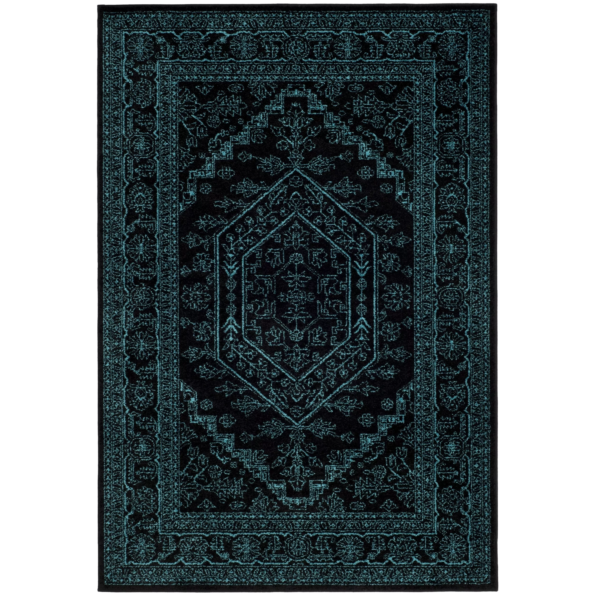 Safavieh Adirondack Collection Black And Teal Oriental Vintage