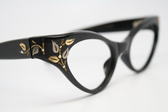 cat eye glasses vintage rhinestone cateye frames NOS