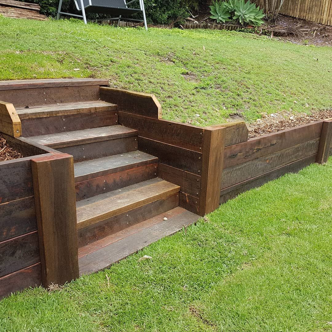 Stützmauer Holz Retaining Wall Sleeper Stairs Garden In 2019 Garden Stairs