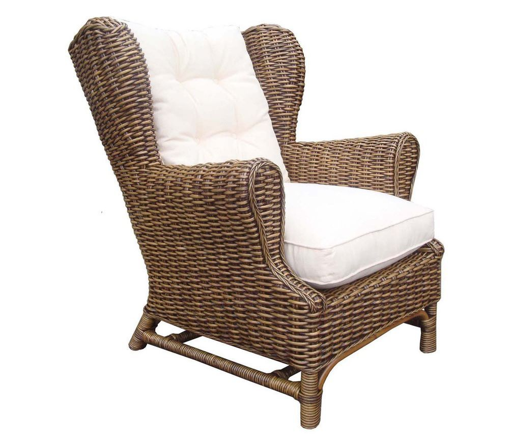 Rattan Wing back Chair Cushion King Size New Free Ship #MartelleInternational #BritishColonial  sc 1 st  Pinterest & Rattan Wing back Chair Cushion King Size New Free Ship ...