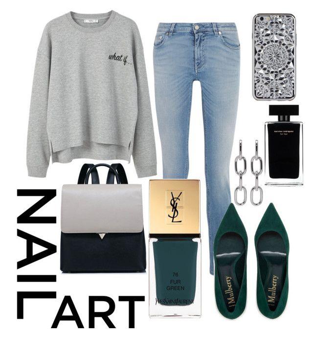 """NAIL ART"" by maryamemara ❤ liked on Polyvore featuring beauty, Alexander Wang, Givenchy, Yves Saint Laurent, MANGO and Narciso Rodriguez"