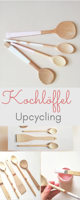 Ideen für die küche in farbe kochlöffel anmalen mit kreidefarben  upcycling für die küche