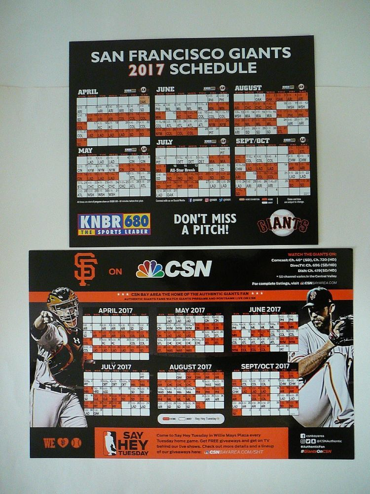 San Francisco Sf Giants 2017 Schedule Posters Authentic Fan Poster Amp Knbr Sports Mem Cards Amp Fan Shop San Francisco Sf Giants San Francisco Giants