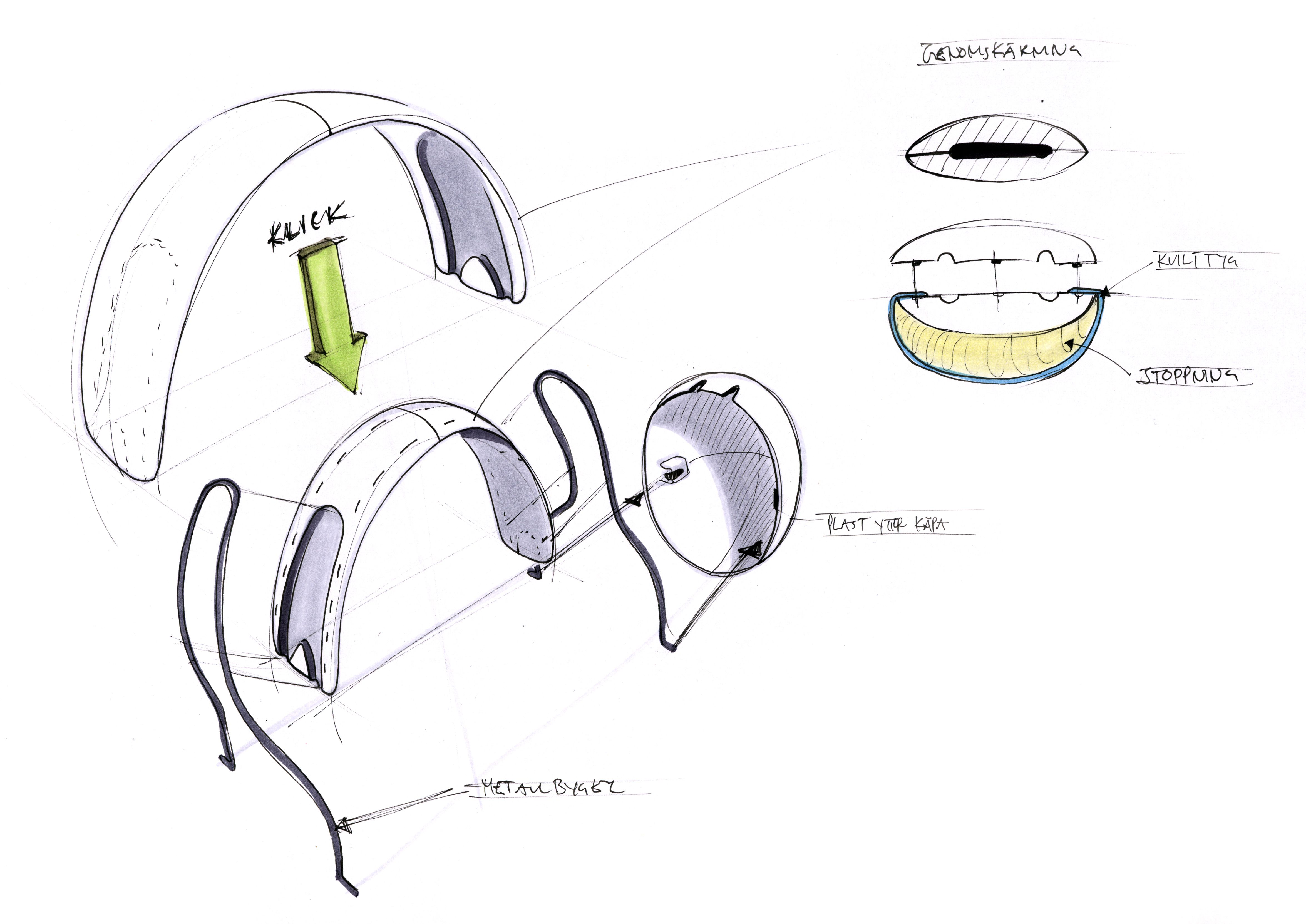 exploded view headphone project sketch [ 4698 x 3324 Pixel ]