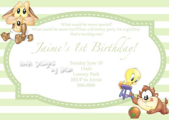 Baby Looney Tunes Birthday Invite By Hmadesignsbybella On