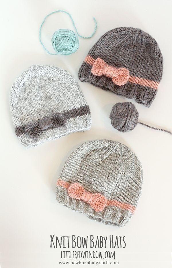 Baby Knitting Patterns Knit Bow Baby Hats | littleredwindow.com | A ...