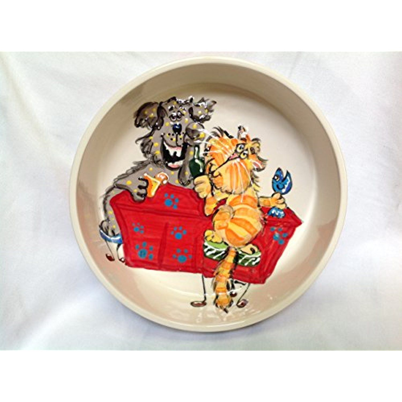 "Dog Bowl Whimsical 10"" Ceramic Dog Bowl for Food or Water"