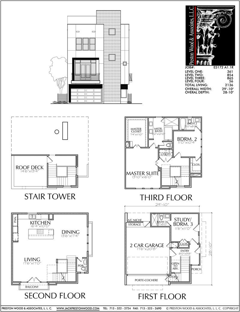 3 1/2 Story Townhouse Plan E5172 A1.1 | Town house floor ...