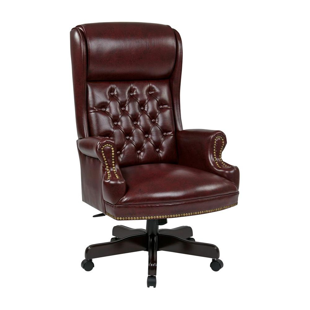 Office Star Products Oxblood Vinyl High Back Executive Office Chair Tex228 Jt4 The Home Depot Office Chair Executive Office Chairs Traditional Office Chairs Leather high back office chair