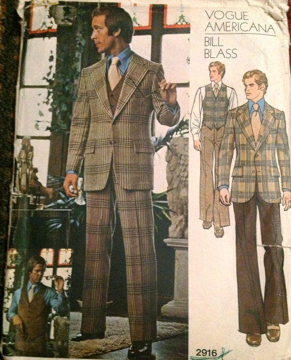Vogue 2916 1970s Mens Designer Suit Jacket Vest And Pants Bill Blass Vintage Sewing Patten Pattern By Mbchills
