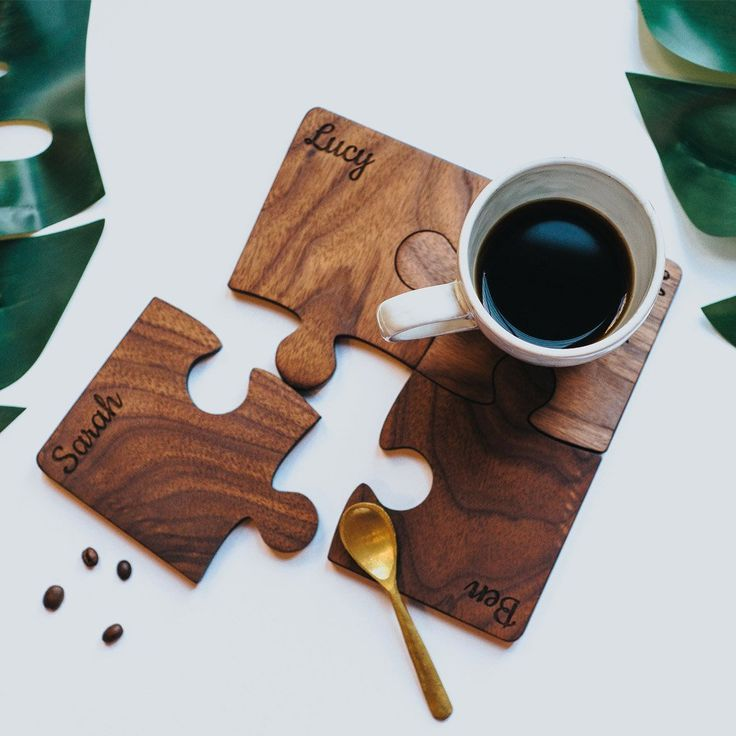 Personalised Wood Set Of Four Jigsaw Coasters | Create Gift Love Bring some fun to your table top with these wonderful wood jigsaw coasters. The jigsaw coasters fit together beautifully and create a great talking point in any home.