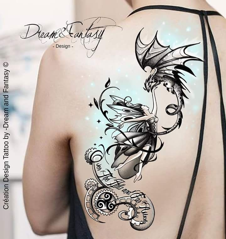 Design Tattoo Fee Dragon Steampunk Feerie Steampunk Tattoo Tattoo Illustration Fairy Tattoo