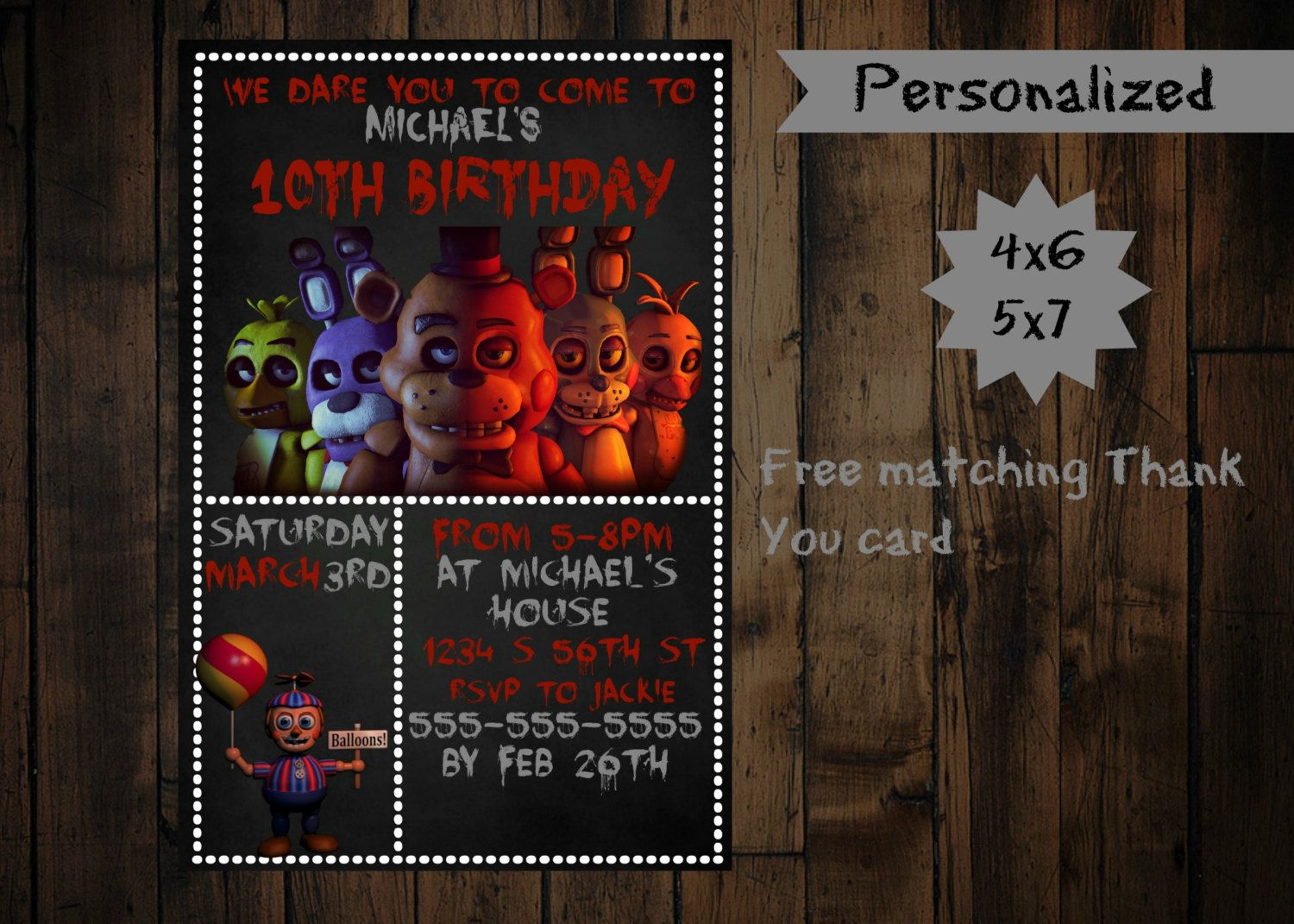 Five Nights at Freddy's Invitation  - Printable - Five Nights at freddys birthday invitation by PurplePalaceDesigns on Etsy