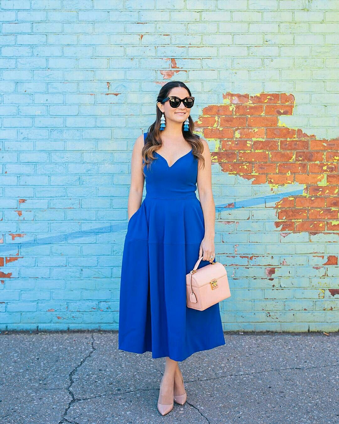 Vestido midi azul bic