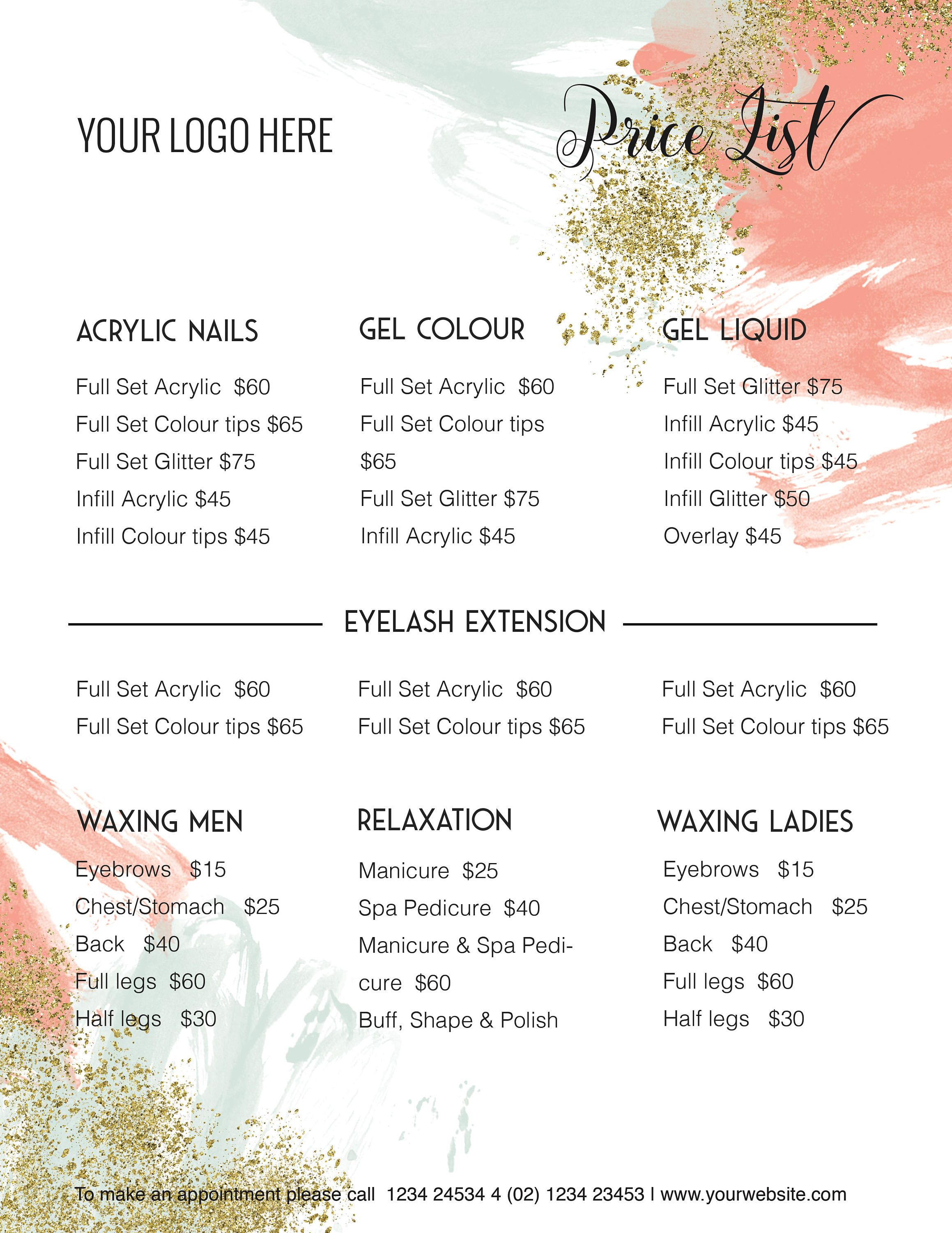 Edit Able Price Guide Pricing List Template Specials Etsy Salon Price List Acrylic Nails Price Nail Prices