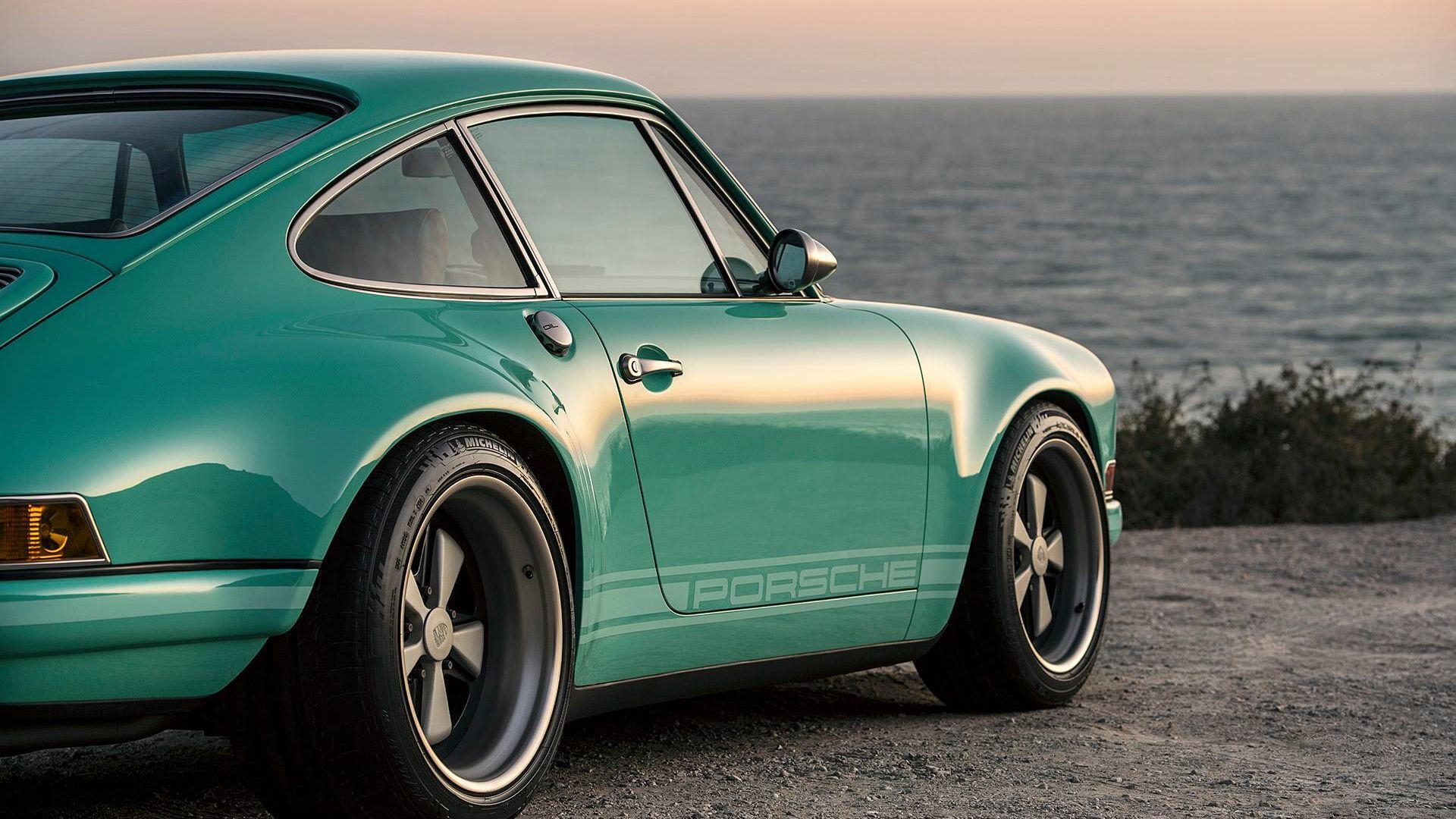This Mouthwatering Custom Porsche Stuns In Seafoam Green Custom Porsche Singer Vehicle Design Porsche