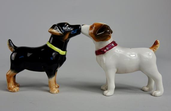 Ceramic Magnetic Salt and Pepper Shakers Collectibles Kissing Bulldogs in Love