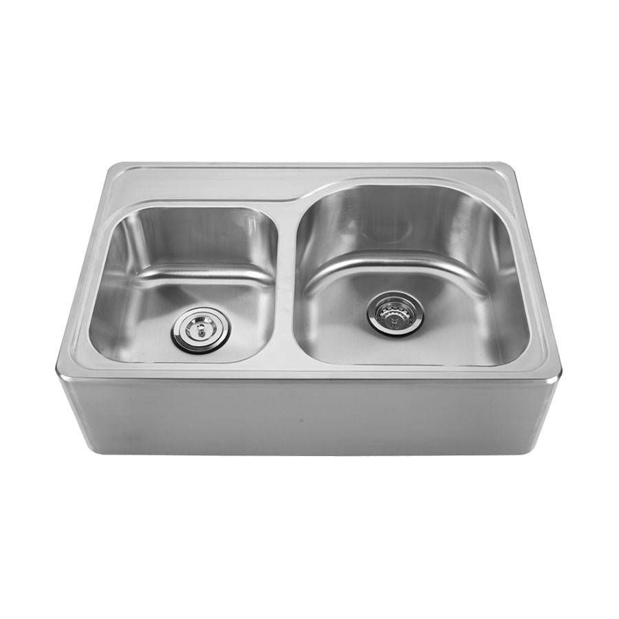 Double bowl apron front drop in farmhouse sink no faucet