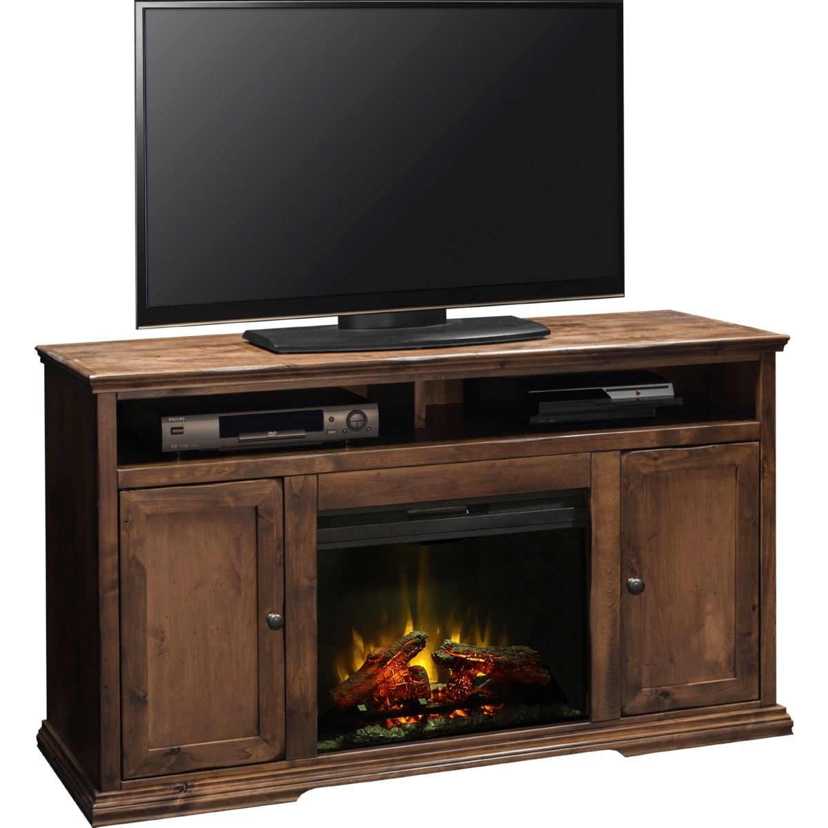 Bozeman 59 Fireplace Console In Distressed Aged Whiskey Finish By