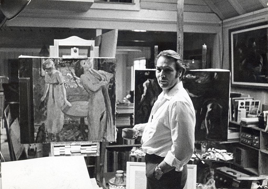 Harry Carmean in his studio in the 1970's