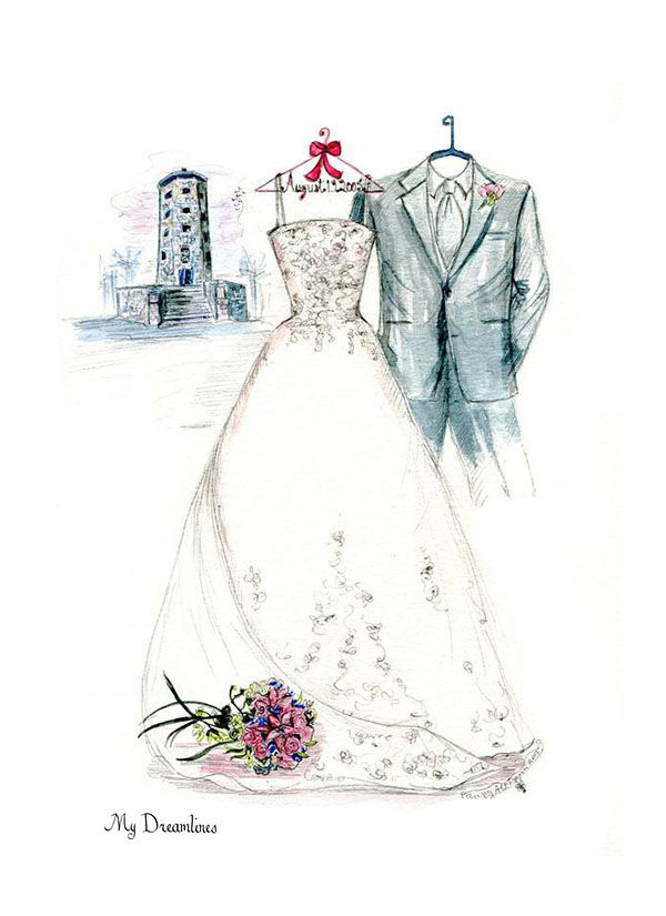 Scenery of your magical wedding day. A wedding dress sketch, bouquet sketch and a tower. Click here to see the sketch gallery. http://www.mydreamlines.com/how-it-works/photo-gallery/
