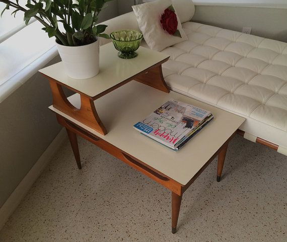 Mid Century Wood Two Tiered End Table Revamp Furniture Painted End Tables Side Table Makeover