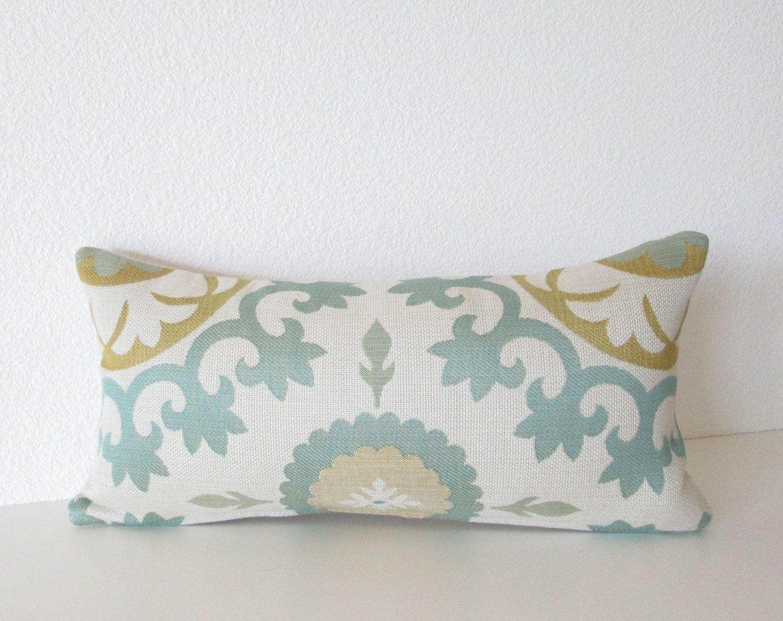 Decorative pillow cover - Mini Lumbar pillow - 8x16 - Off White - Seafoam Green - Chartreuse Green - Lumbar - Designer Pillow. $15.00, via Etsy.