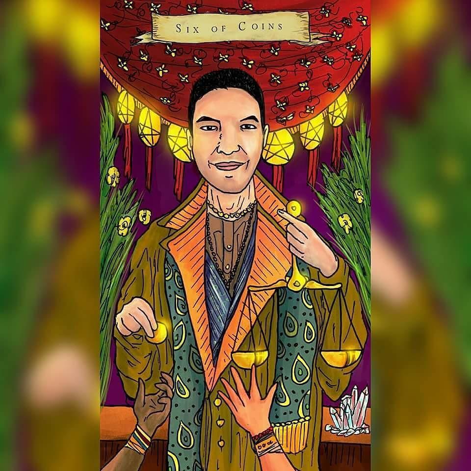 6 Of Coins tarot cards -  From  Emilie's Kindred Spirits Tarot -  Model : J.r. Rivera  http://ift.tt/20SrPfs  #Tarotcards #tarot #emiliesKindredSpiritsTarot #6ofcoins by tarotbyemiliemoe