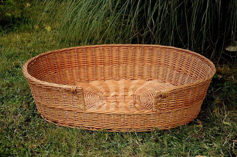 Xl Woven Dog Bed Basket Dog Basket Handmade Dog Bed Etsy Basket Dog Bed Dog Basket Dog Bed