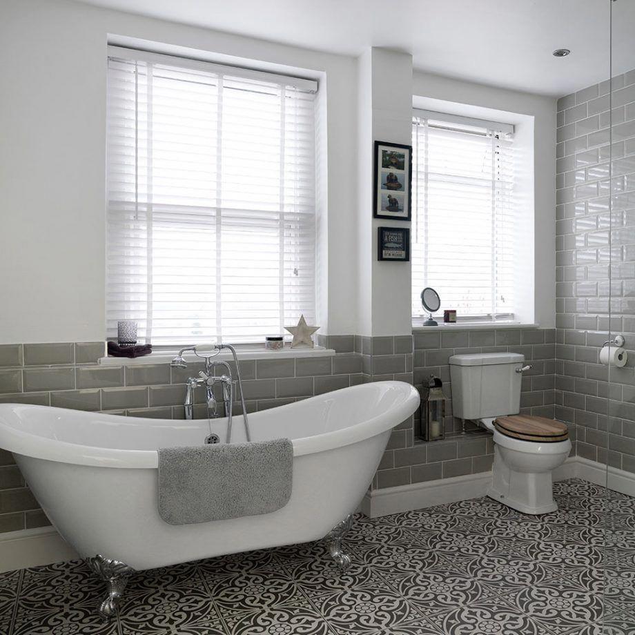 Bathroom With Roll Top Bath And Patterned Floor Tiles 1 Kitchenflooringideas Patterned Floor Tiles Bathroom Design Bathroom Top