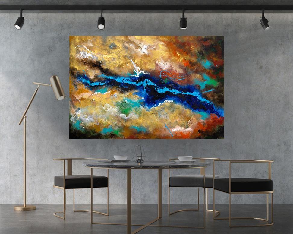 Large Abstract Wall Art ,Horizontal #LA0118e   Office Painting Ideas