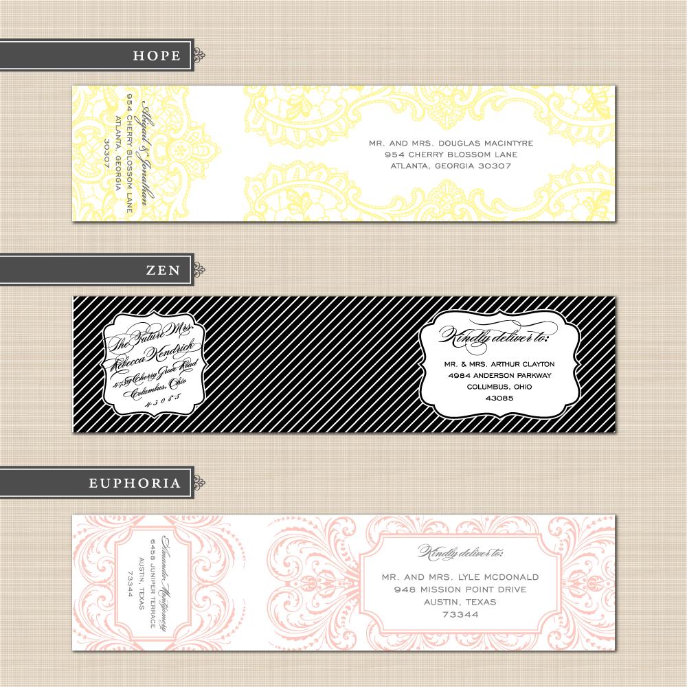 diy printable custom wedding wrap around address label design