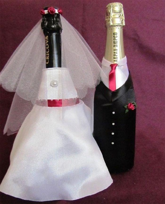 Украсить бутылки на свадьбу своими руками фото