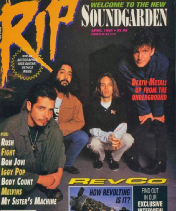 Soundgarden...cover of RIP magazine April 1994