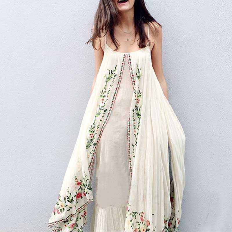 a12fb8080 Cheap maxi dress, Buy Quality summer dress directly from China embroidered  maxi dress Suppliers: Boho Inspired floral embroidered maxi dress  adjustable ...