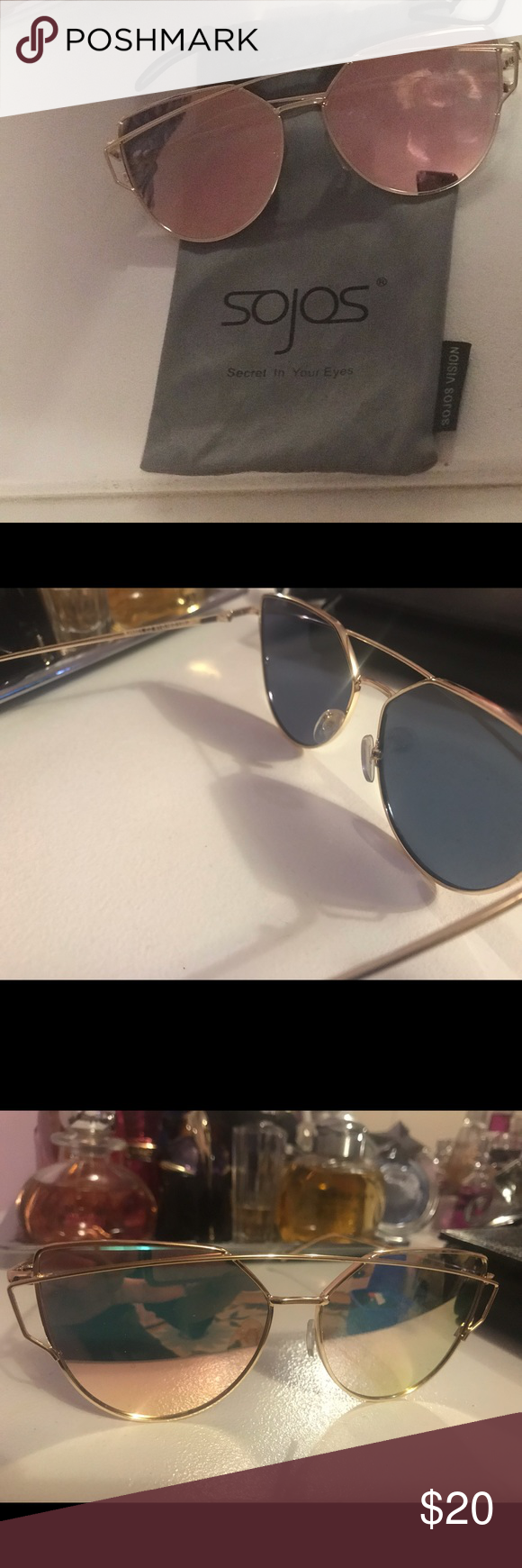 f4dc6d0aa4 SOJOS cat eyed Mirrored Sunglasses Brand new Sojos Sunglasses  rose gold  Metal frame Plastic lens