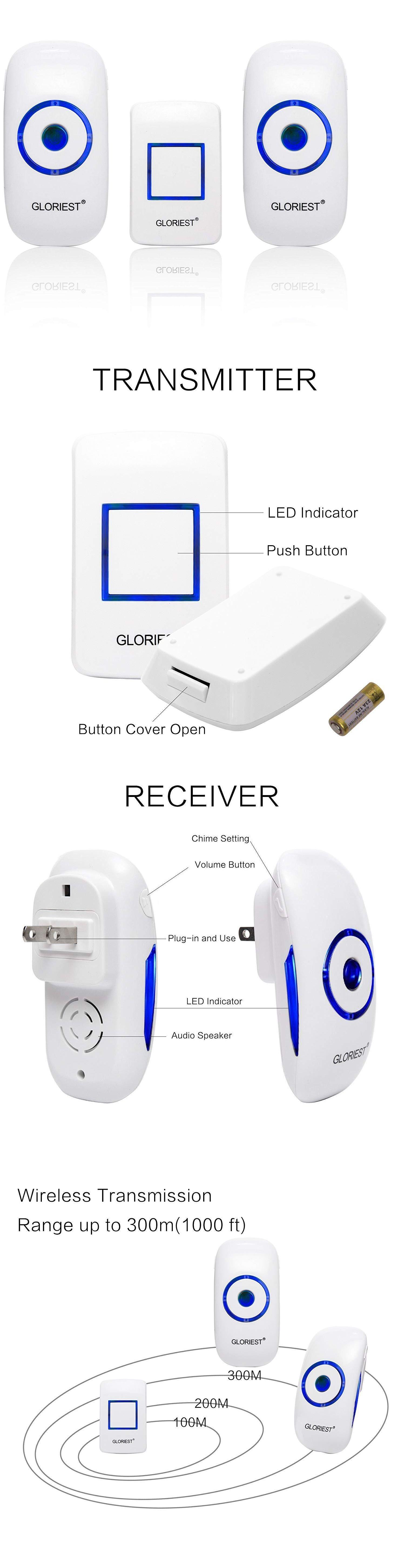 Doorbells 115975 wireless led doorbell chime 4 volume