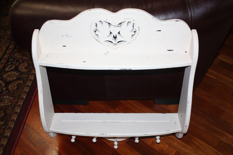 Vintage Solid Wood Cottage Shabby White Coat Rack w/Plate Shelf/Bathroom Shelf/White Painted Distressed Coat Rack/Hearts,Doves Hanging Shelf by ThePaintedPapillon on Etsy
