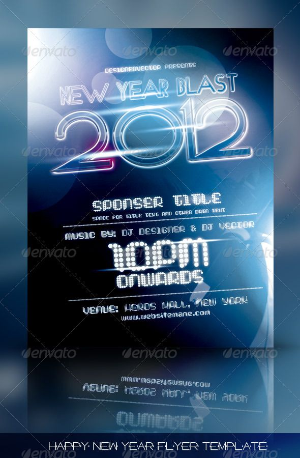 Happy New Year Flyer/Poster Template Fonts, Template and Texts